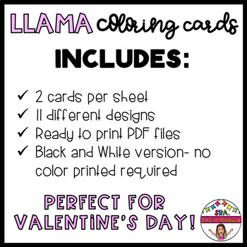 Spanish Valentine's Llama Coloring Cards by ...