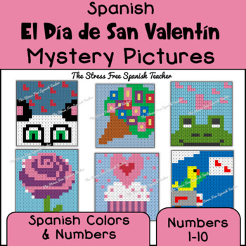 Spanish Valentine's Mystery Pictures! Color By Number / Grid for February