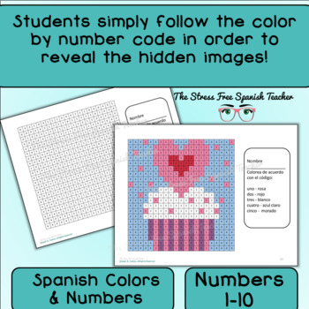 Spanish Color By Number Mystery Pictures for Valentine's Day! Grid for February