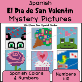 Spanish Color By Number Mystery Pictures for Valentine's D