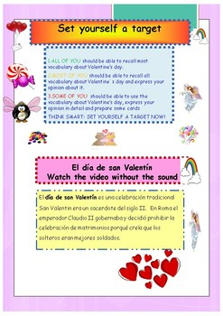 Spanish Valentine's day , día de San Valentine booklet for beginners