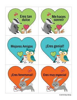 Día de San Valentín: Spanish Valentines Tarjetas Valentine Cards Gift Tags