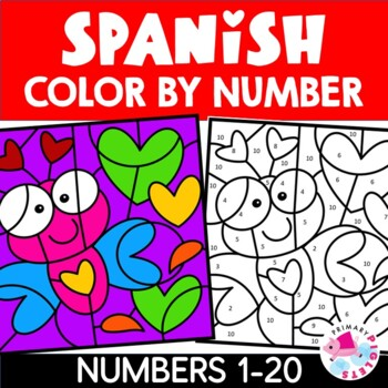 Spanish Valentines Day Color by Number Math Mystery Pictures