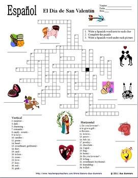 Spanish Valentine's Day Vocabulary, 34 Word Crossword / Image IDs - San Valentín