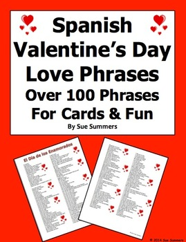 Spanish Valentine's Day Bilingual Love Phrases for Cards and Fun!