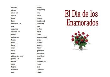 Spanish Valentine's Day Bingo - 36 Game Cards and Vocabulary
