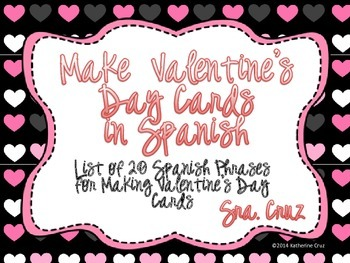Spanish Valentine's Day Cards Activity