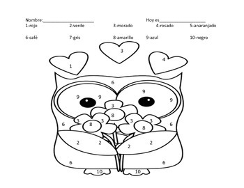 valentine coloring pages spanish | Spanish Valentine's Day Color by Number by Elissa Garcia | TpT