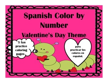 Spanish Valentine's Day Color by Number