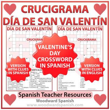 Valentines day crossword teaching resources teachers pay teachers spanish valentines day crossword crucigrama del da de san valentn m4hsunfo