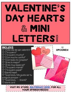 Spanish Valentine's Day, Día de San Valentín Printable Hearts and Letters!