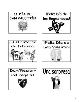 Spanish Valentine's Day (El Dia de San Valentin) Flash Cards & Games