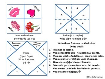 Spanish Valentine's Day Fortune Teller Activity