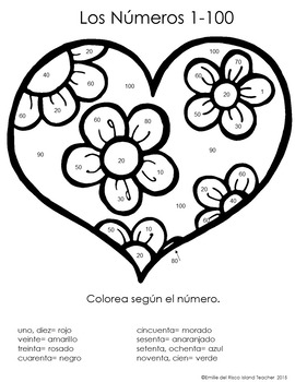 Spanish Color by Number Valentines Day Hearts 100-1000, 100-10, 100-10000