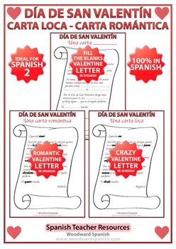 Spanish Valentines Day Letters by Woodward Education  TpT