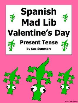 Spanish Valentine's Day Mad Lib Writing Activity