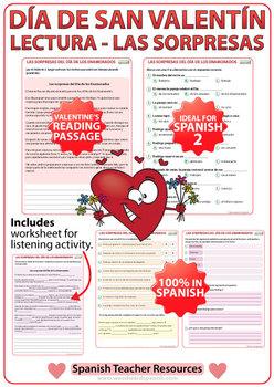 Spanish Valentine's Day Reading - Lectura del Día de los Enamorados