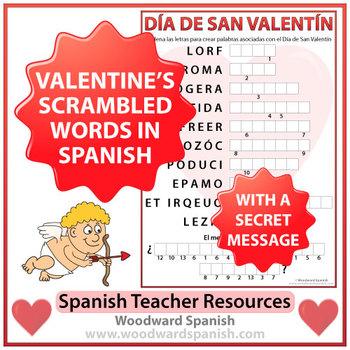 Spanish Valentine's Day Scrambled Words and Secret Message