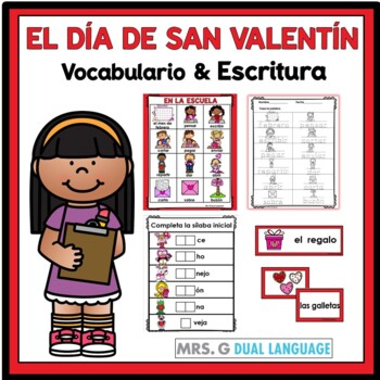 Spanish Word Wall Cards and Vocabulary Activities for Valentine's Day