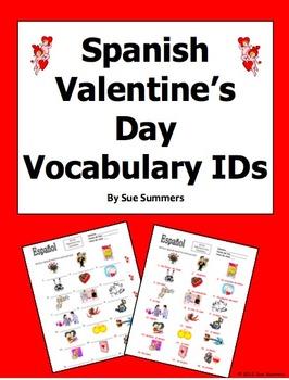 Spanish Valentine's Day Vocabulary IDs Worksheet - El Dia de San Valentin