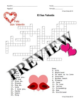 Spanish Valentine's Day Vocabulary and Activity Packet - El San Valentín