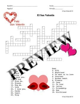 Spanish Valentine's Day Vocabulary and Activity Packet - E