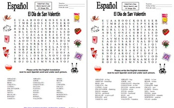 Spanish Valentine's Day Word Search Puzzle, Vocabulary, and Image IDs