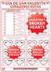 Spanish Valentine's Day Worksheet and Flash Cards - Broken Hearts