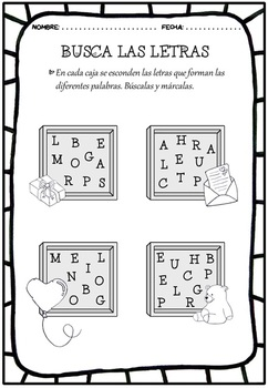 Spanish Valentine's Day vocabulary, activities, flash cards and game
