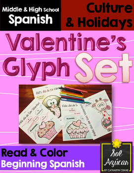 Spanish Valentine's Glyph Set of 3 Read and Color Activities - Beginning Level