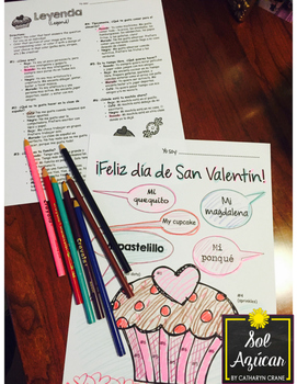 Spanish Valentine's Cupcake Glyph - Read and Color - Beginning
