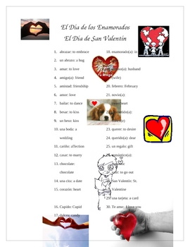 Spanish Valentine's Vocabulary Words