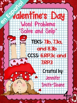 Spanish Valentine's Word Problems Solve and Snip- 6th, 7th & 8th- Common Core
