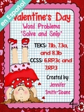 Spanish Valentine's Word Problems Solve and Snip- 6th, 7th