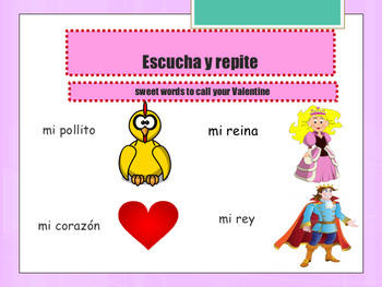 Spanish Valentine's day , día de San Valentine printable and powerpoint