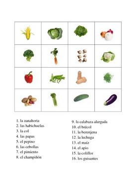 Spanish Vegetable Vocabulary Activities - Magic Squares
