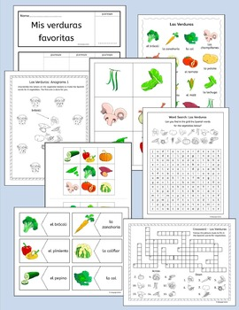 Spanish Vegetables - Las Verduras - Vocabulary