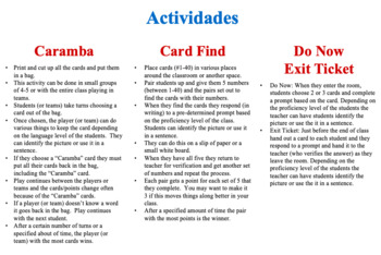 Spanish Vegetables Speaking and Writing Activities (Caramba Cards)