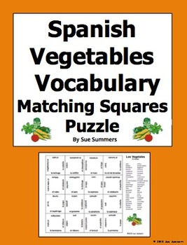 Spanish Vegetables Vocabulary 4 x 4 Matching Squares Puzzle