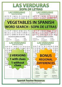 Spanish Vegetables Word Search - Las Verduras