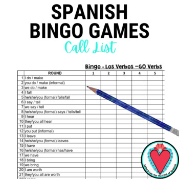 Spanish Bingo -GO Verbs edition