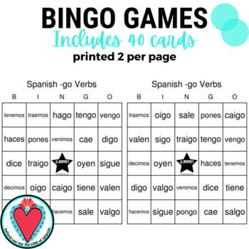 Spanish Verb Bingo Go Verbs By Senora Lee For The Love Of Spanish