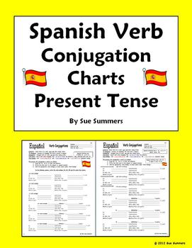 Spanish verb conjugation charts present tense by sue for Table o present libramont