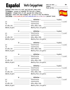 Spanish Verb Conjugation Form / Chart - Present Tense MS Word