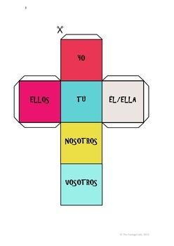 Spanish Verb Conjugation Game - 36 Present Tense Verbs with Pronoun Dice