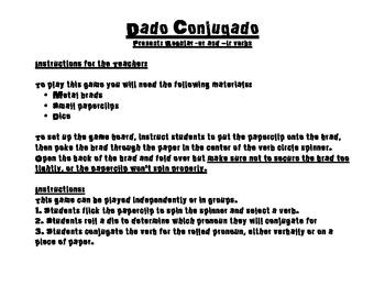 Spanish Verb Conjugation Game- Regular Present -Er -Ir Verbs- Dado Conjugado