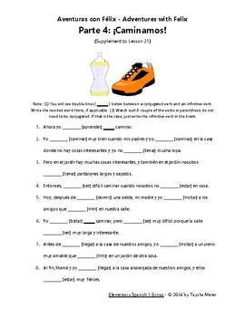 Spanish Verb Conjugation Practice Worksheet Story - Félix 4