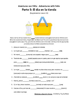 Spanish Verb Conjugation Practice Worksheet Story - Félix 5