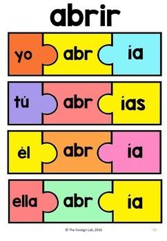 Spanish Verb Conjugation Puzzle - PRETÉRITO IMPERFECTO