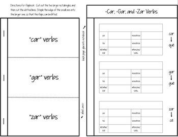Spanish Interactive Notebook Verbs Flapbook (Car, Gar, Zar Verbs)